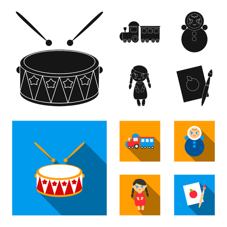 Train.kukla, picture.Toys set collection icons in black,flat style vector symbol stock illustration .