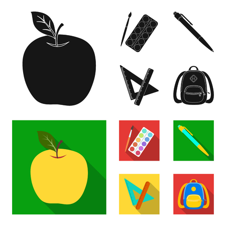 Multicolored paints with a tassel, pen, triangle and ruler, satchel, briefcase. School and education set collection icons in black,flat style vector symbol stock illustration . 向量圖像