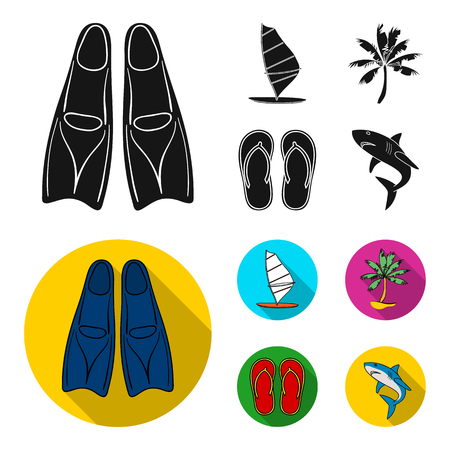 Board with a sail, a palm tree on the shore, slippers, a white shark. Surfing set collection icons in black,flat style vector symbol stock illustration .