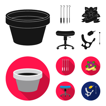 Chair on rollers, needles for tattoo and other equipment. Tattoo set collection icons in black,flat style vector symbol stock illustration .
