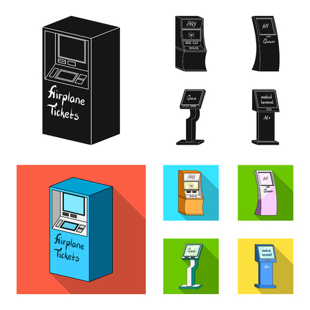 Medical terminal, ATM for payment,apparatus for queue,. Terminals set collection icons in black,flat style isometric vector symbol stock illustration .