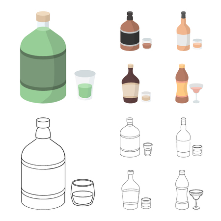 Whiskey, liquor, rum, vermouth.Alcohol set collection icons in cartoon,outline style vector symbol stock illustration web.