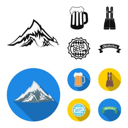 Pantaloncini con bretelle, un bicchiere di birra, un cartello, un emblema. Oktoberfest impostata icone dell'accumulazione in nero, piatto stile vettoriale simbolo illustrazione stock web.
