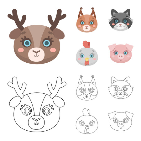Protein, raccoon, chicken, pig. Animal muzzle set collection icons in cartoon,outline style vector symbol stock illustration web.