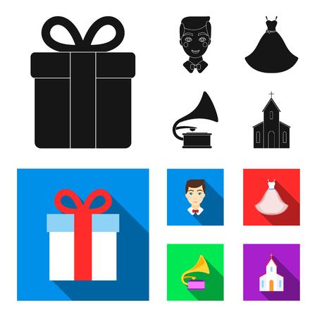 Vestido de novia, novio, gramófono, iglesia. La boda fijó los iconos de la colección en web del ejemplo de la acción del símbolo del vector del estilo del esquema.