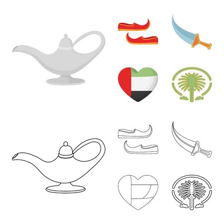 Eastern shoes, dagger, the heart of the emirates,Palm Jumeirah.Arab emirates set collection icons in cartoon,outline style vector symbol stock illustration web. Vektoros illusztráció