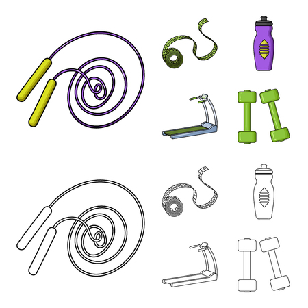 Measuring tape, water bottle, treadmill, dumbbells. Fitnes set collection icons in cartoon,outline style vector symbol stock illustration web. Stock Illustratie