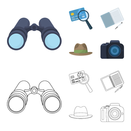Camera, magnifier, hat, notebook with pen.Detective set collection icons in cartoon,outline style vector symbol stock illustration web.