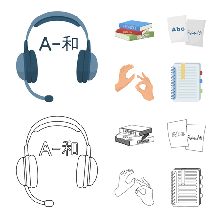 A pile of books in different languages, sheets of paper with translation, a gesture of deaf mutes, a notebook with text. Interpreter and translator set collection icons in cartoon,outline style vector symbol stock illustration .