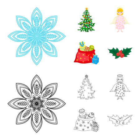 Christmas tree, angel, gifts and holly cartoon,outline icons in set collection for design. Christmas vector symbol stock web illustration.