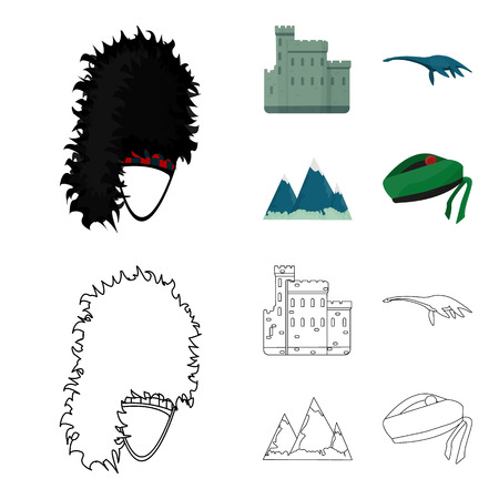 Edinburgh Castle, Loch Ness Monster, Grampian Mountains, national cap balmoral,tam o shanter. Scotland set collection icons in cartoon,outline style vector symbol stock illustration web. Çizim