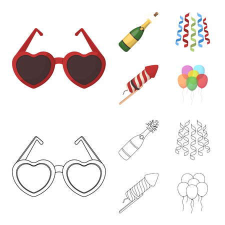Champagne, fireworks and other accessories at the party.Party and partits set collection icons in cartoon,outline style vector symbol stock illustration .