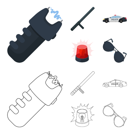 Police baton, auto, flasher, glasses.Police set collection icons in cartoon,outline style vector symbol stock illustration web.