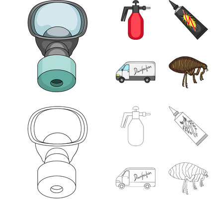 Flea, special car and equipment cartoon,outline icons in set collection for design. Pest Control Service vector symbol stock web illustration.