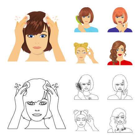 Hairdresser, cosmetic, salon, and other web icon in cartoon,outline style.Means, hygiene, care icons in set collection.