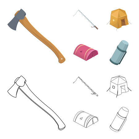 Spinning for fishing, tent, bottle.Tent set collection icons in cartoon,outline style vector symbol stock illustration web.