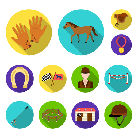 Hippodrome and horse flat icons in set collection for design. Horse Racing and Equipment vector symbol stock web illustration.