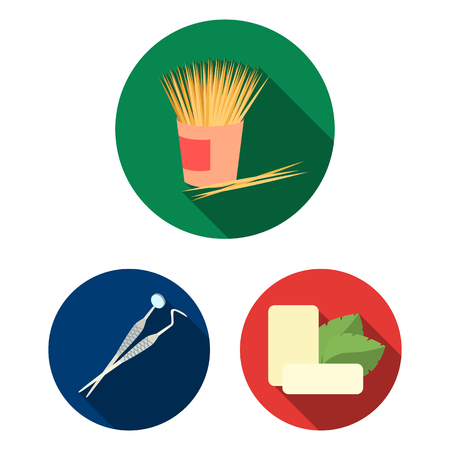 Dental care flat icons in set collection for design. Care of teeth bitmap symbol stock web illustration. 스톡 콘텐츠