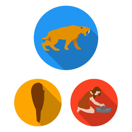Life in the Stone Age flat icons in set collection for design. Ancient people bitmap symbol stock web illustration.