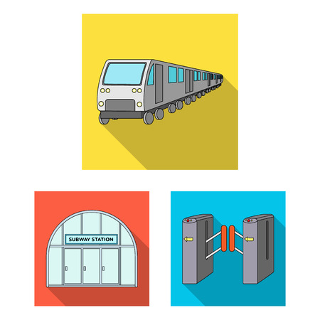 Metro, subway flat icons in set collection for design.Urban transport bitmap symbol stock web illustration. Stock Photo