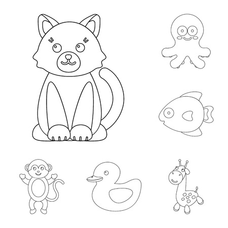 An unrealistic outline animal icons in set collection for design. Toy animals bitmap symbol stock web illustration. Standard-Bild