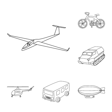 Different types of transport outline icons in set collection for design. Car and ship bitmap symbol stock web illustration. Archivio Fotografico - 106563215