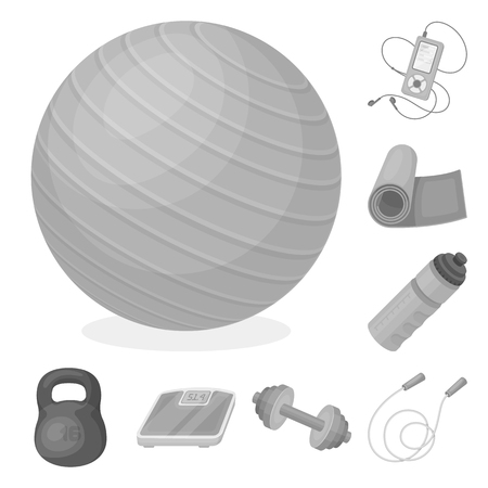 Gym and training monochrome icons in set collection for design. Gym and equipment bitmap symbol stock web illustration.