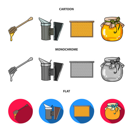A frame with honeycombs, a ladle of honey, a fumigator from bees, a jar of honey.Apiary set collection icons in cartoon,flat,monochrome style bitmap symbol stock illustration web.