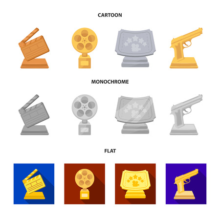 Gold pistol, silver prize for the best supporting role and other prizes.Movie awards set collection icons in cartoon,flat,monochrome style bitmap symbol stock illustration web. Stockfoto