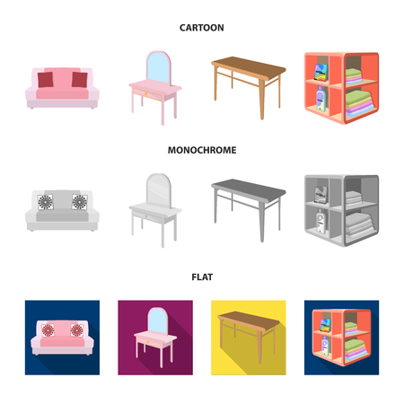 Soft sofa, toilet make-up table, dining table, shelving for laundry and detergent. Furniture and interior set collection icons in cartoon,flat,monochrome style isometric bitmap symbol stock illustration web. Stock Photo