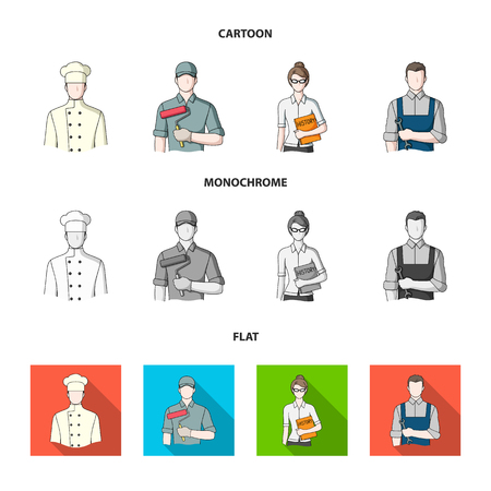 Cook, painter, teacher, locksmith mechanic.Profession set collection icons in cartoon,flat,monochrome style bitmap symbol stock illustration web.