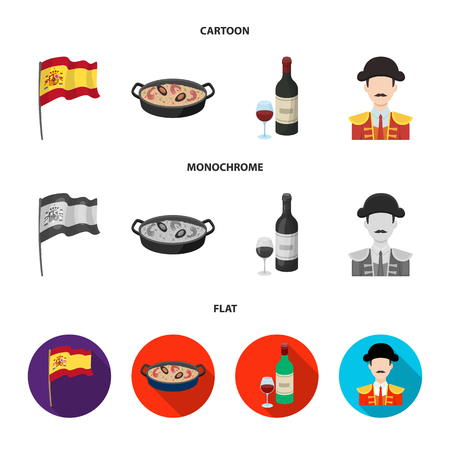 Flag with the coat of arms of Spain, a national dish with rice and tomatoes, a bottle of wine with a glass, a bullfighter, a matador. Spain country set collection icons in cartoon,flat,monochrome style bitmap symbol stock illustration web. Stock Photo