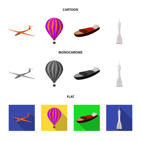 A drone, a glider, a balloon, a transportation barge, a space rocket transport modes. Transport set collection icons in cartoon,flat,monochrome style bitmap symbol stock illustration web.