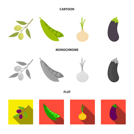Olives on a branch, peas, onions, eggplant. Vegetables set collection icons in cartoon,flat,monochrome style bitmap symbol stock illustration web.