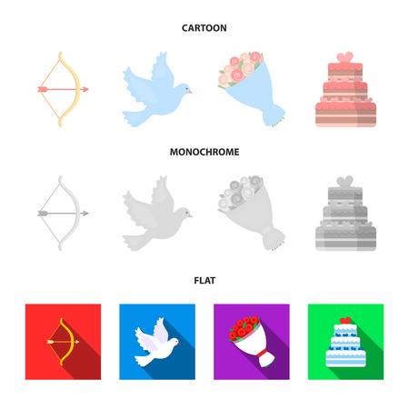 Arrow cupid, dove, bouquet of flowers, wedding cake. Weddin gset collection icons in cartoon,flat,monochrome style bitmap symbol stock illustration web.