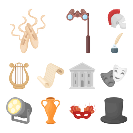 Theatrical art cartoon icons in set collection for design.Theater equipment and accessories bitmap symbol stock web illustration.