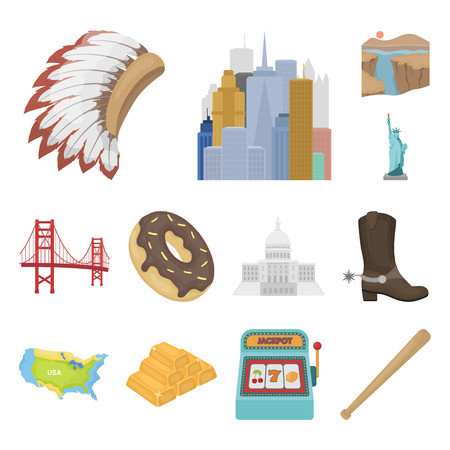 USA country cartoon icons in set collection for design.Travel and attractions bitmap symbol stock web illustration.