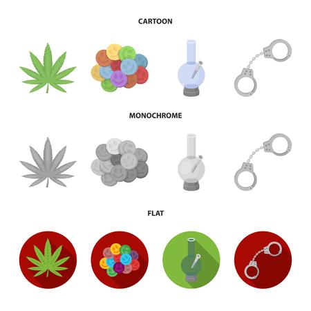 Hoja de cáñamo, píldora de éxtasis, esposas, bong. Drogas configurar los iconos de la colección en la web de dibujos animados, plano, monocromo estilo bitmap símbolo stock de ilustración.