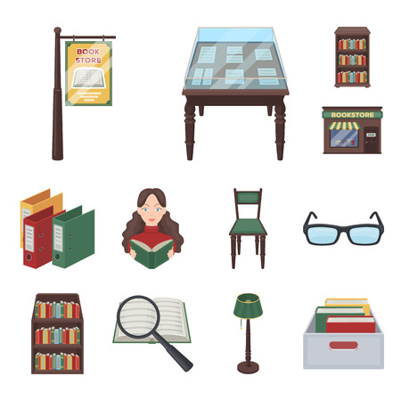 Library and bookstore cartoon icons in set collection for design. Books and furnishings bitmap symbol stock web illustration.