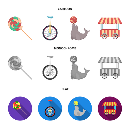 Lollipop, trained seal, snack on wheels, monocycle.Circus set collection icons in cartoon,flat,monochrome style bitmap symbol stock illustration web.