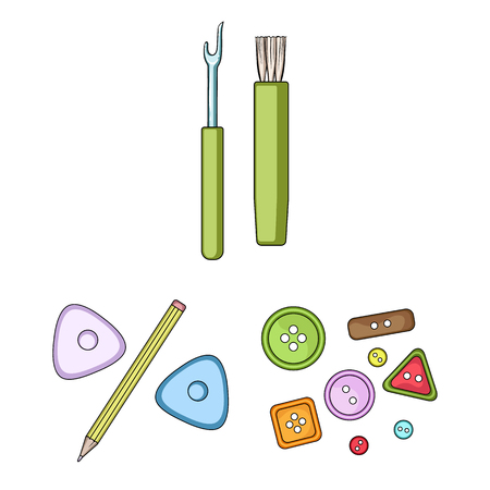 Sewing, atelier cartoon icons in set collection for design. Tool kit bitmap symbol stock web illustration. Фото со стока