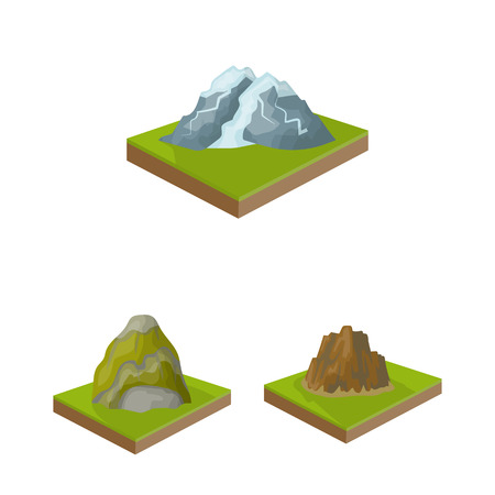 Mountains, massive cartoon icons in set collection for design. The surface of the earth bitmap isometric symbol stock web illustration.