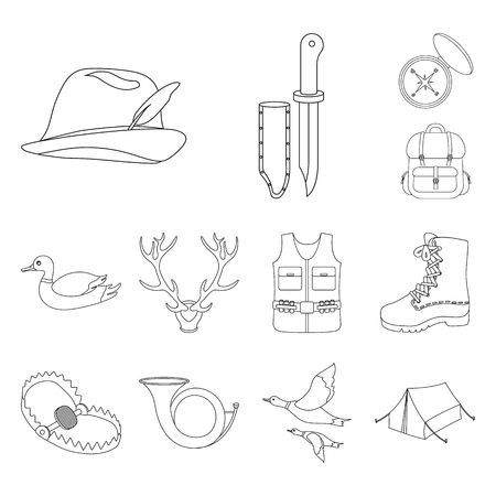 Hunting and trophy outline icons in set collection for design. Hunting and equipment bitmap symbol stock web illustration.