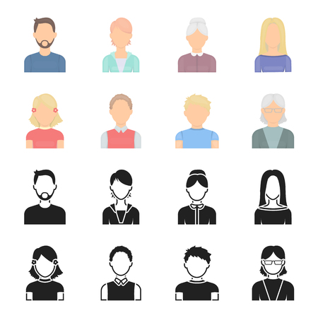 Red-haired boy, teen girl, grandmother wearing glasses.Avatar set collection icons in black,cartoon style bitmap symbol stock illustration web. Stock Photo