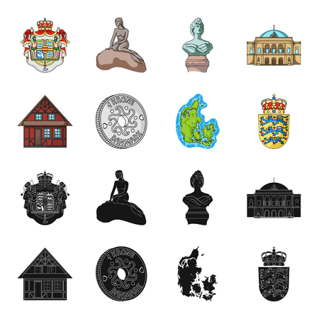 House, residential, style, and other web icon in black,cartoon style. Country, Denmark, sea, icons in set collection.