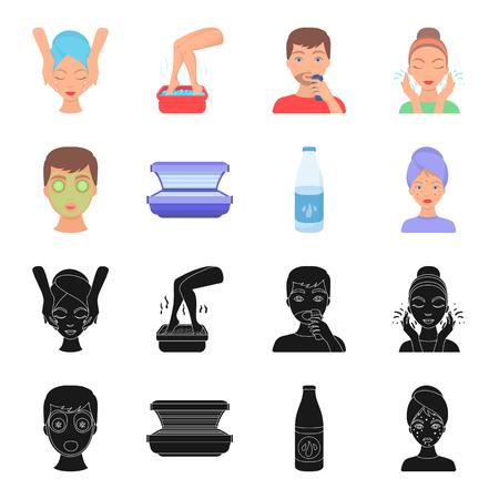 Face mask, solarium, bottle ts lasenom, pimples on face. Skin Care set collection icons in black,cartoon style bitmap symbol stock illustration web. Stockfoto