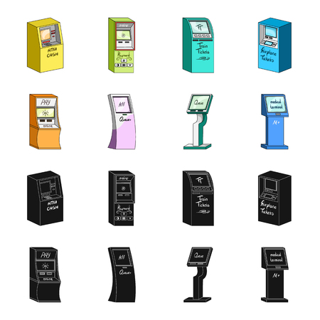 Medical terminal, ATM for payment,apparatus for queue. Terminals set collection icons in black,cartoon style isometric bitmap symbol stock illustration  . Reklamní fotografie