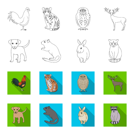 Puppy, rodent, rabbit and other animal species.Animals set collection icons in outline,flat style bitmap symbol stock illustration .