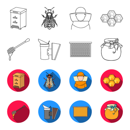 A frame with honeycombs, a ladle of honey, a fumigator from bees, a jar of honey.Apiary set collection icons in outline,flat style bitmap symbol stock illustration .