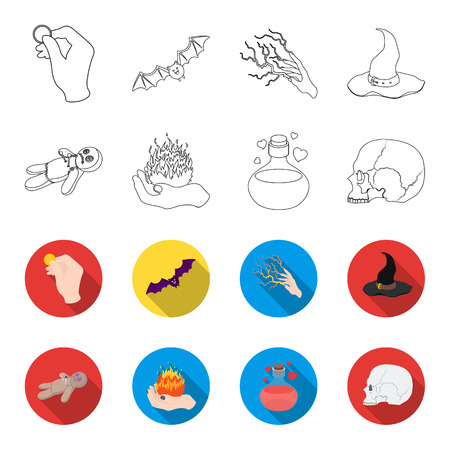 A voodoo doll, a magical fire, a love potion, a skull.Black and white magic set collection icons in outline,flat style bitmap symbol stock illustration .
